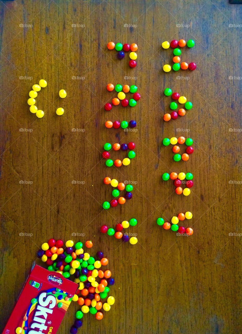 Happy Friday. Skittles design.