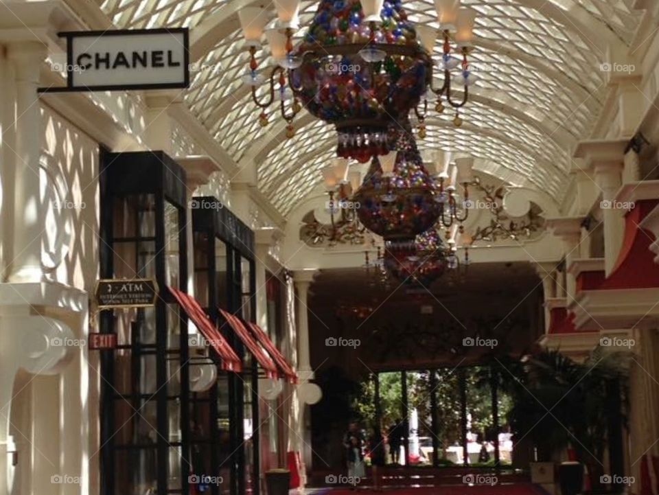 Luxury shopping at the Wynn hotel and resort. Las Vegas, Nevada  Chanel, beautiful decor and architecture in a stunning corridor.