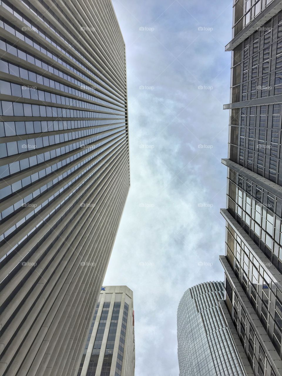 High buildings of San Francisco. View from underneath.