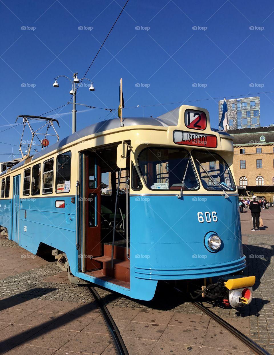 Tram in Gothenburg, Sweden.