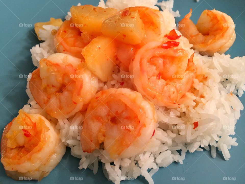 Coconut and pineapple sweet chili shrimp