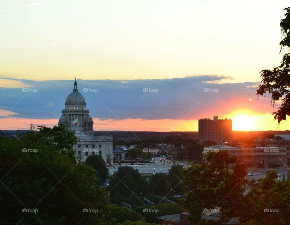 Sunset over Providence. Photo captured in August in Providence, RI at Prospect park at sunset.
