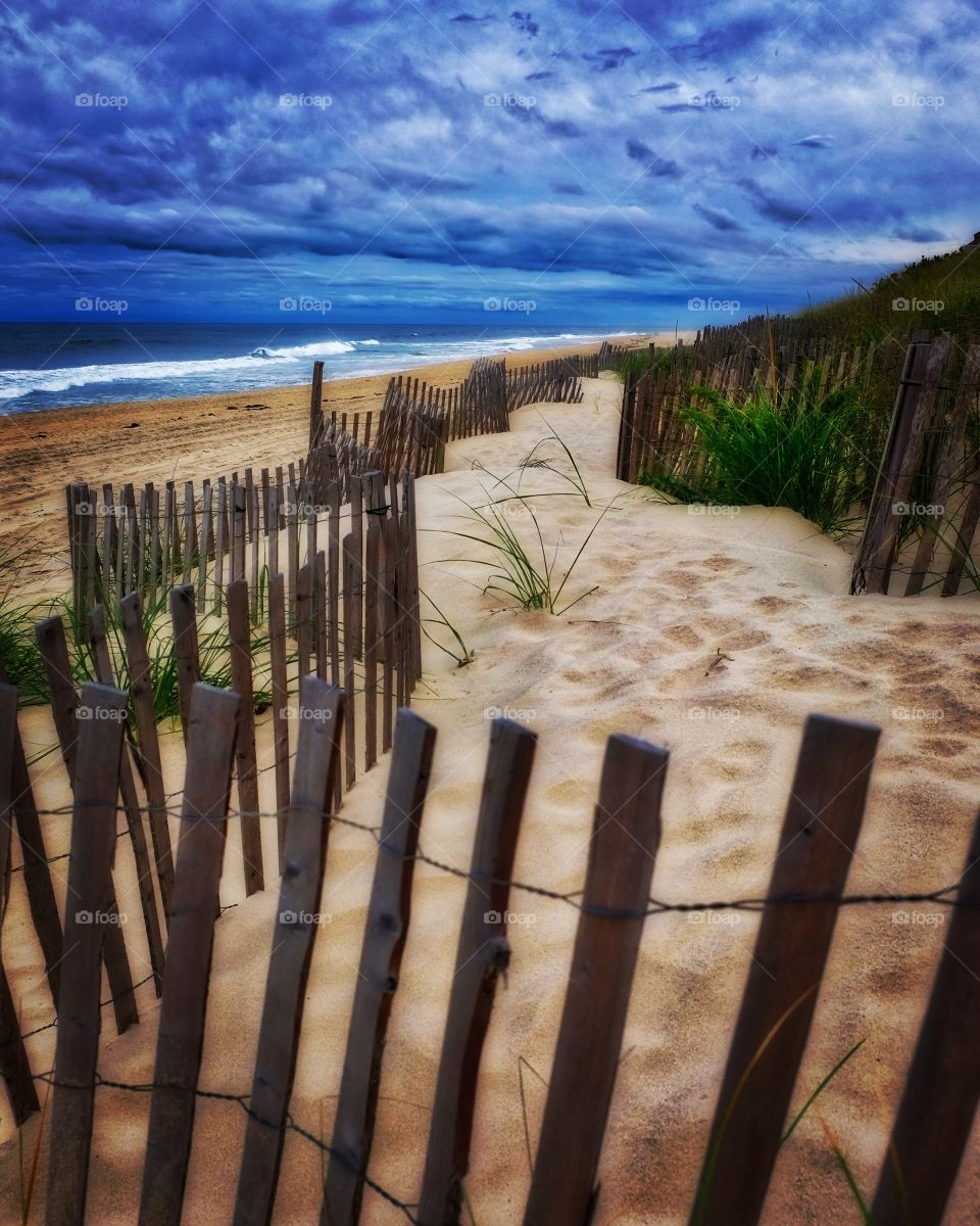 Iconic Beach Scene From East Hamptons, Hamptons Beach Landscape, Fences On Hamptons Beach, Oceanside Landscape, Mornings On The Beach, Memories Of Summer