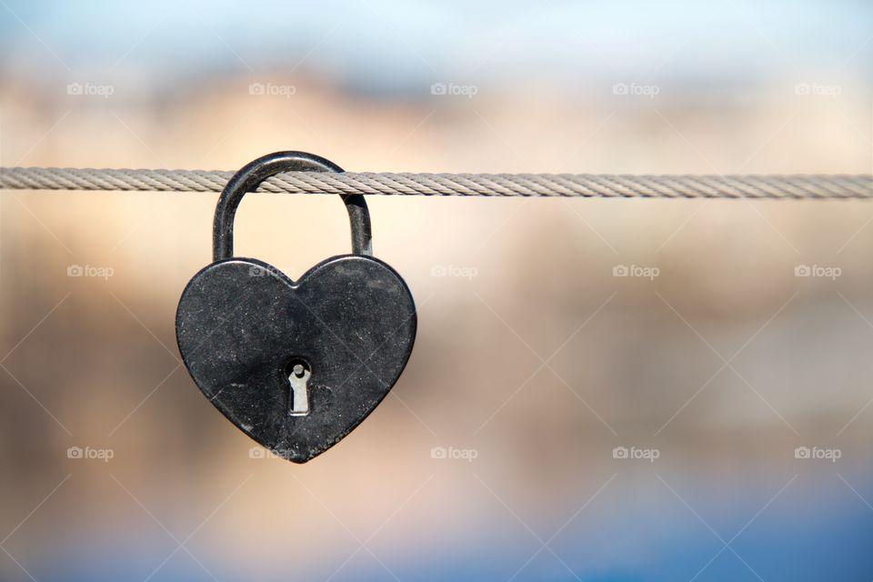 Padlock love on rope
