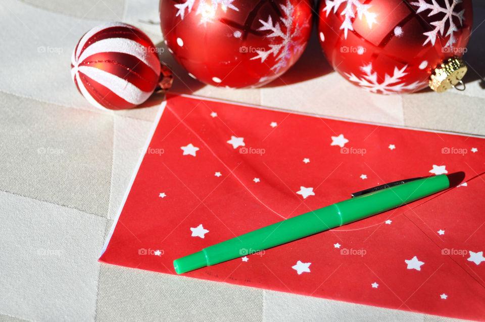 Envelope. A Christmas card writing concept.