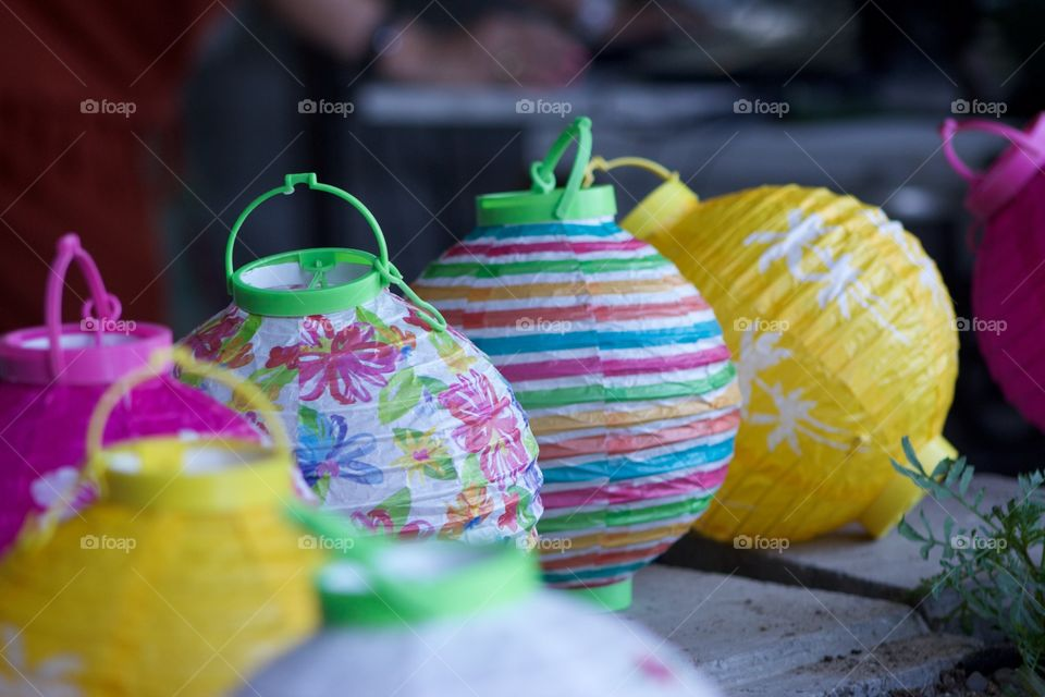 Close-up of colorful Chinese lanterns