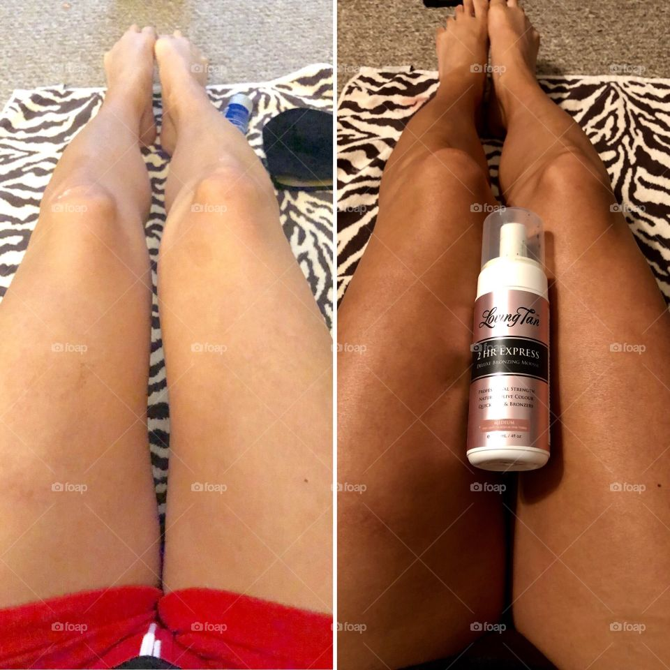 This is a pic of my natural skin color and 2 hrs later after using Loving Tan 2 hr express foam in medium.  The best tanning product I've ever used & it doesn't stink like normal cheaper tanning products.  If you haven't tried it, you must!