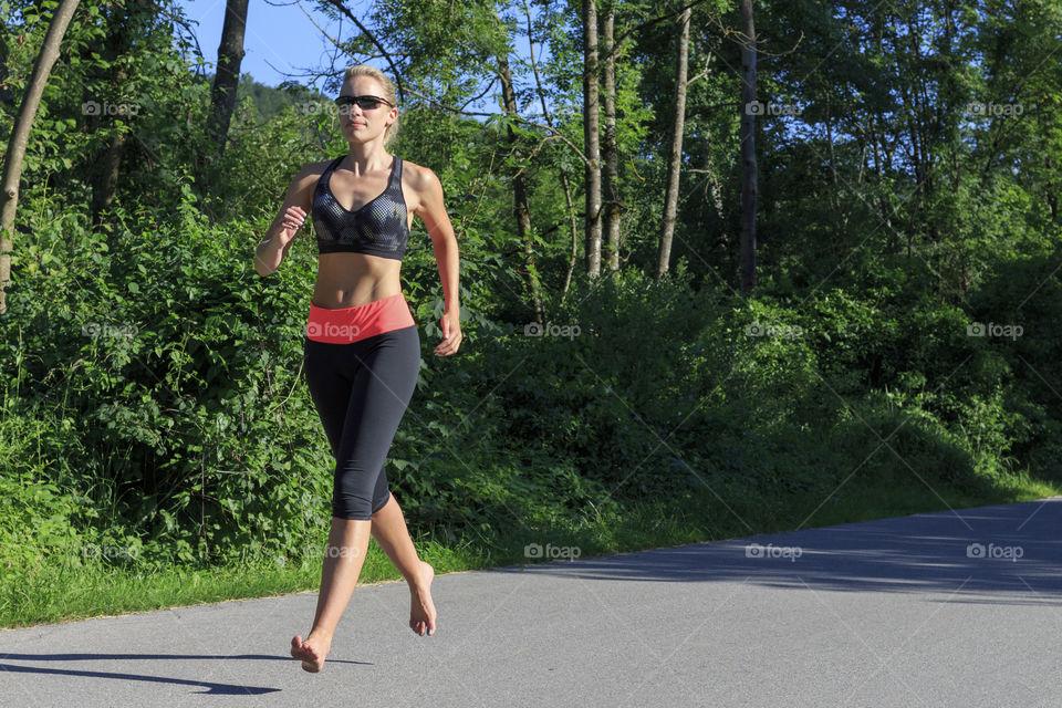 Barefoot jogging