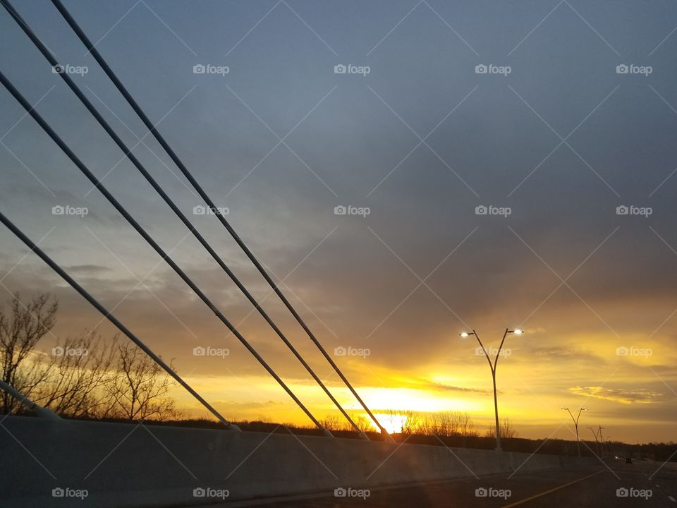 View of road during sunset