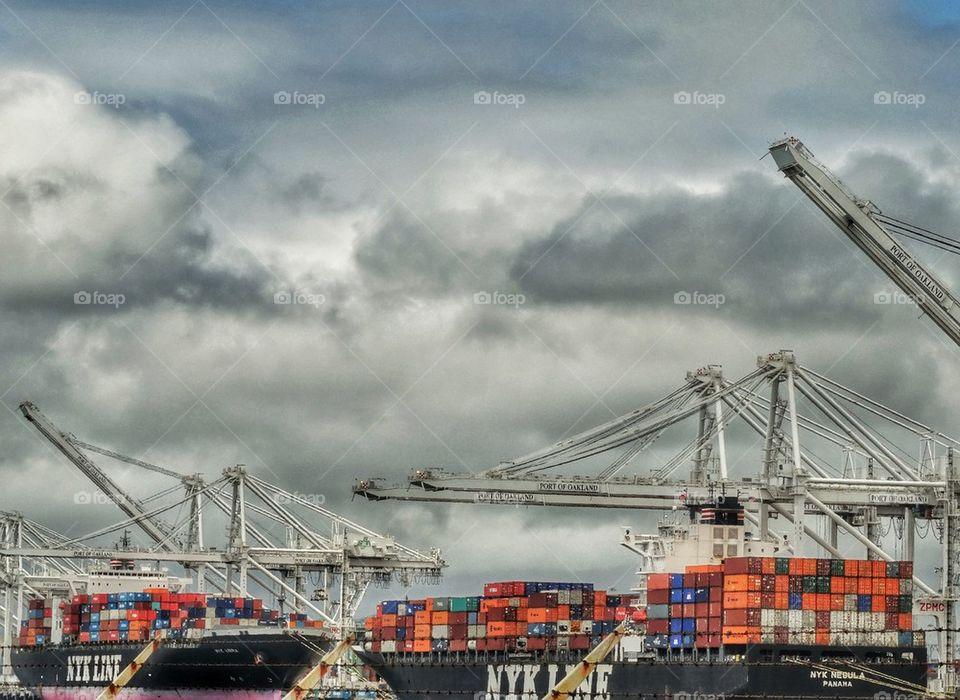 Cargo Ships Unloading Cargo