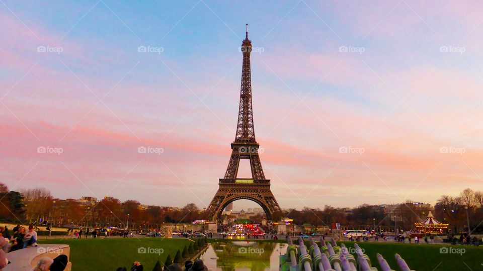 The Eiffel tower at sunset,Paris,France