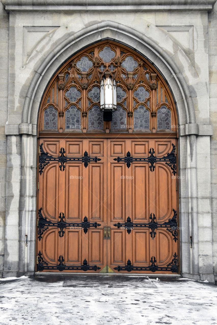 Door into Notre Dame Basilica in Montreal