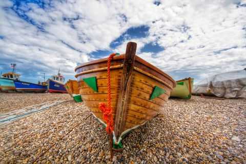 Close-up of a wooden boat