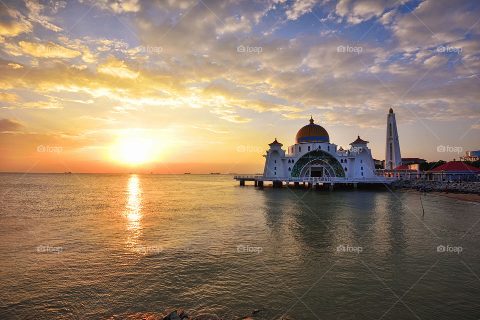 Sunset over Straits Mosque, Malacca