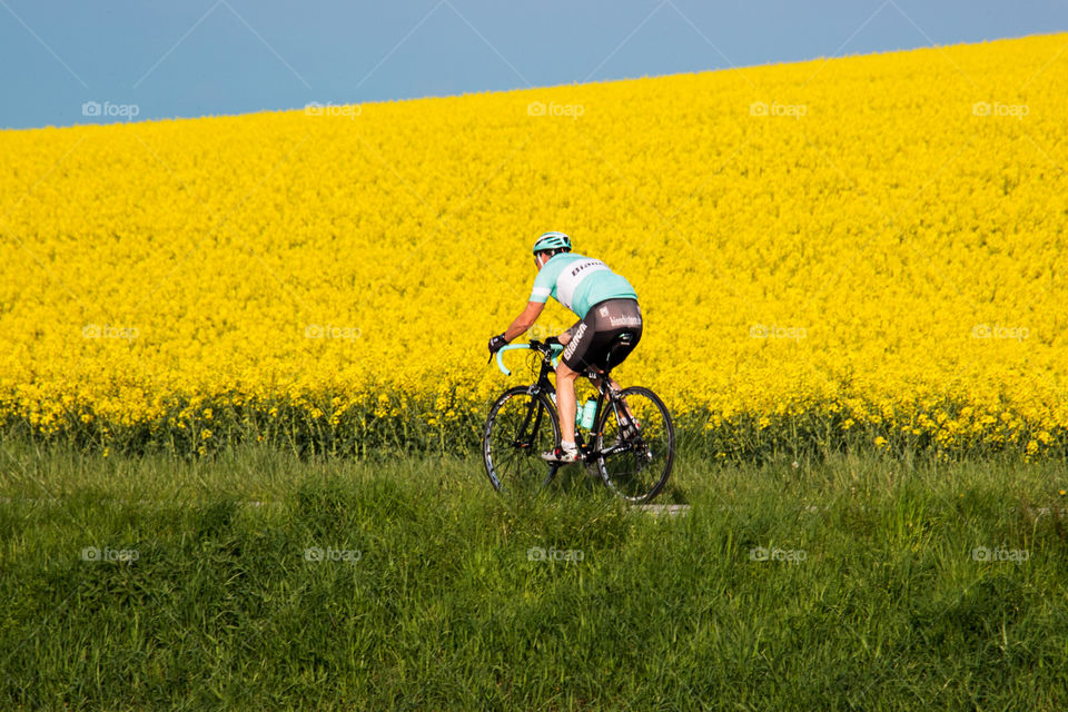Biker and the yellow flowers