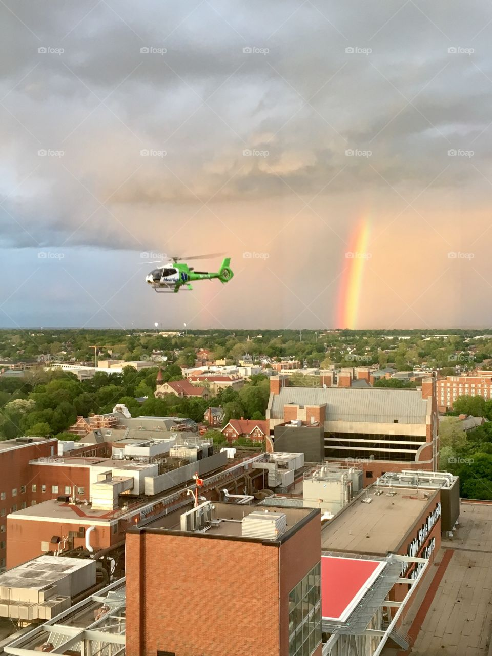 Rainbow outside of the James Cancer hospital in Columbus Ohio