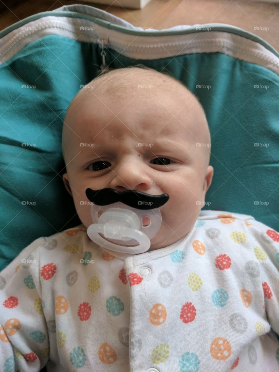 Baby Oliver angry with a moustache