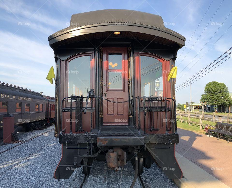 The last passenger coach on the Strasburg Railroad train. The Strasburg Railroad is located in beautiful Lancaster County, Strasburg, PA.