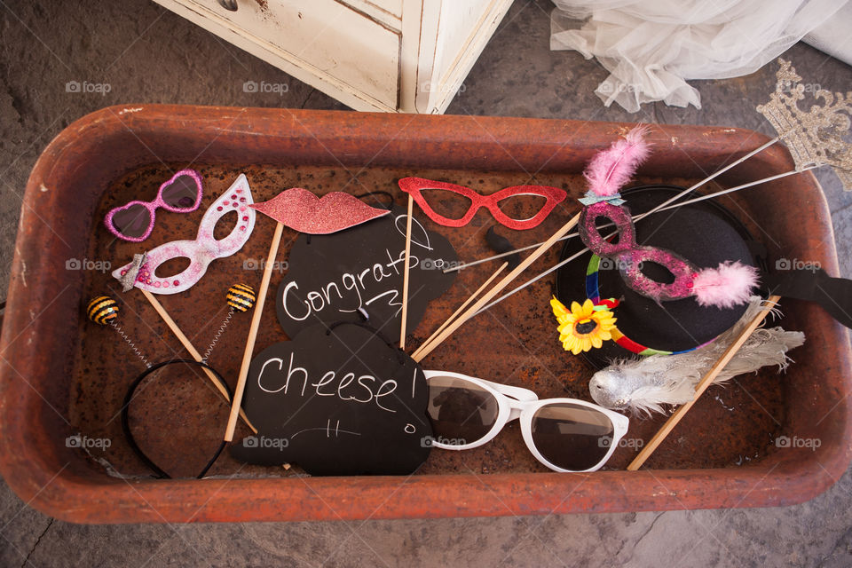 Photo booth at a wedding . Wedding photo booth props