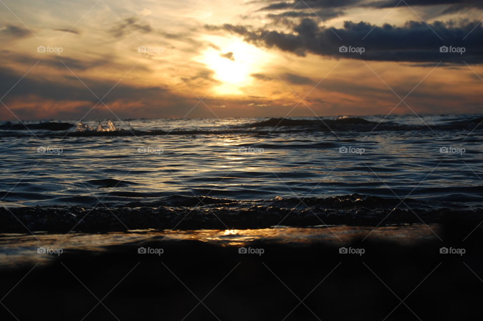 View of a baltic sea during sunset