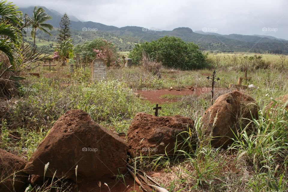 Old Cemetery in Hawaii. An old cemetery near the foothills of the Koolau's on Oahu.