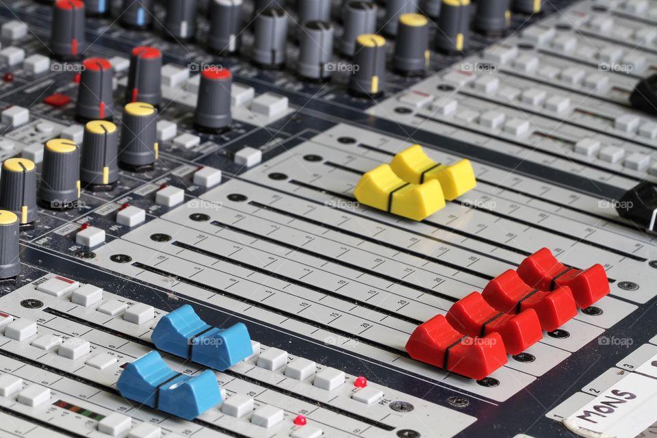 Extreme close-up of sound mixer