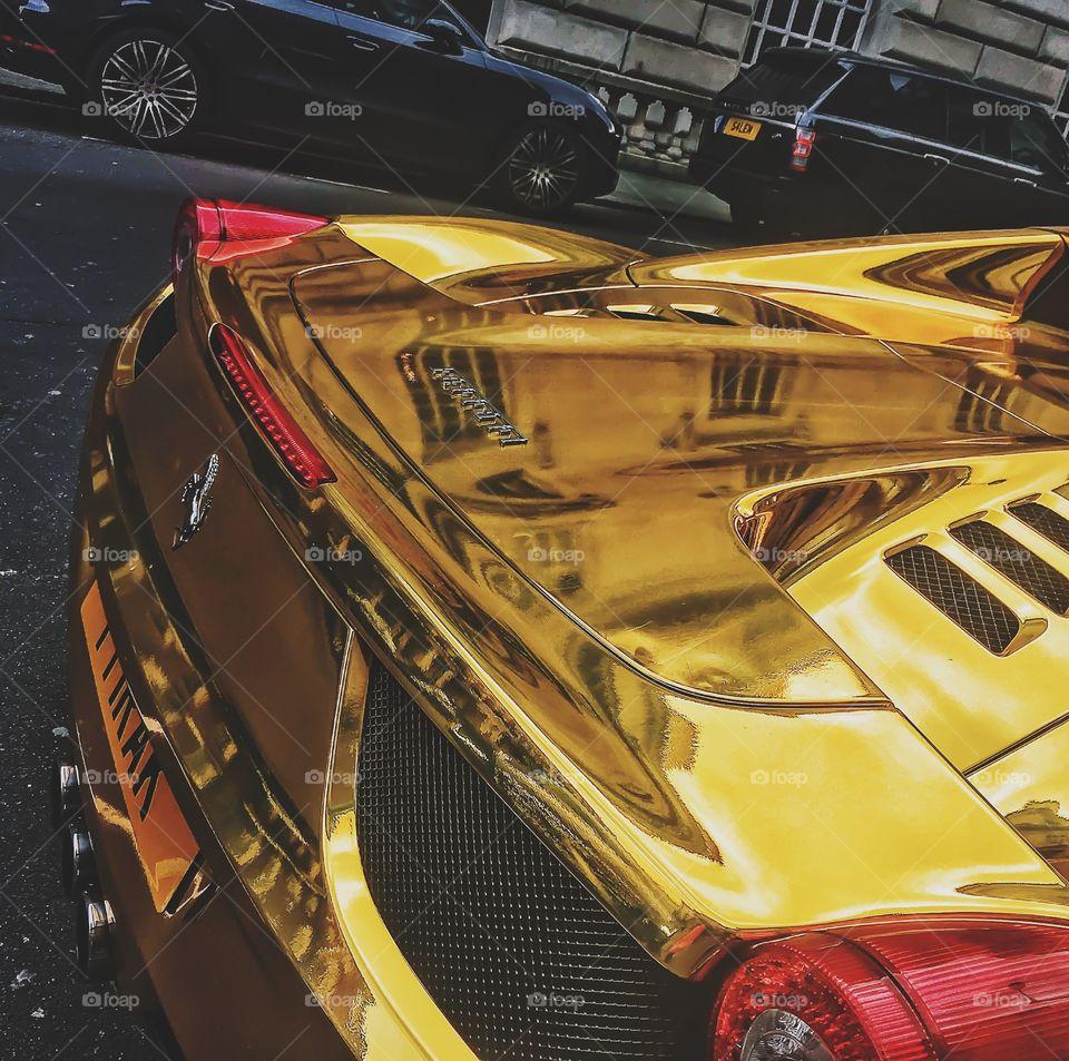 Ferrari 458 Spider Gold. Took this at Bond Street in London