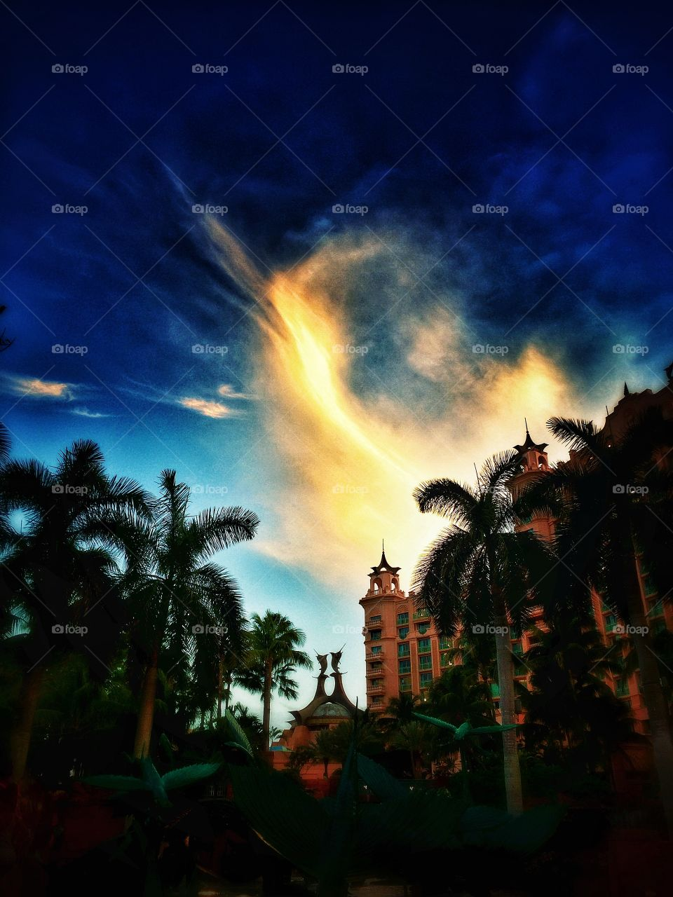 Sunset over Atlantis Paradise resort Bahamas Nassau