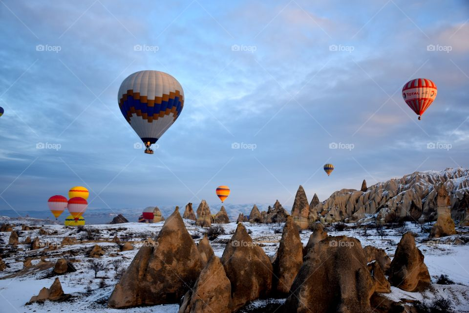 Hot Air Balloon flight at sun rise, cappadocia, turkey