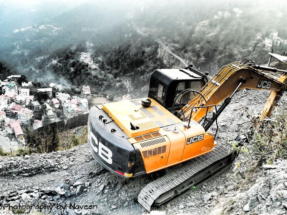 Working JCB in Malyana at distt Shimla in Himachal Pradesh