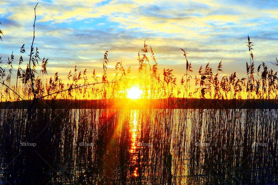 water sunset peace earth by anetteaventyr