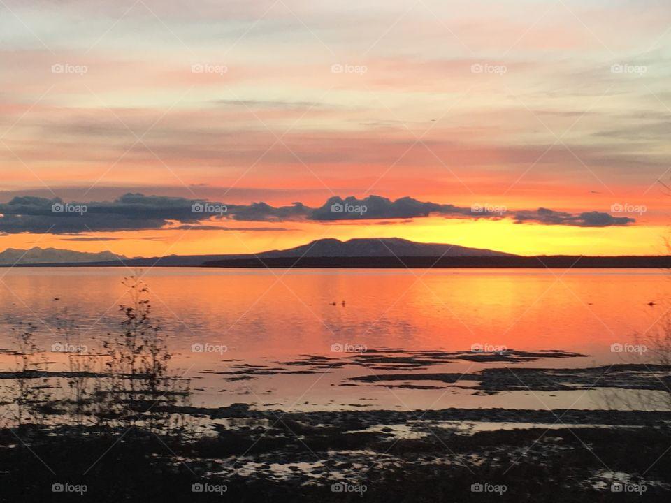 Sky reflecting on lake
