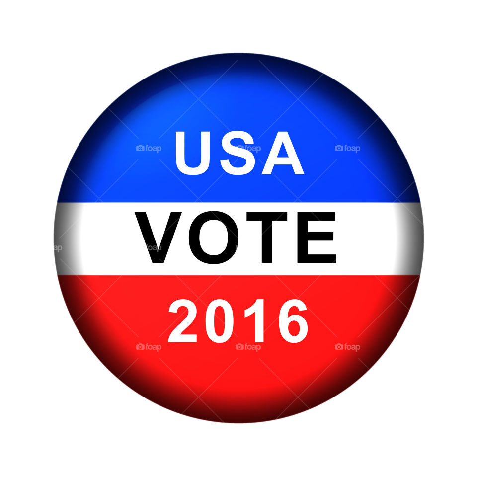 Vote Button 2016 Red white and blue vote button for 2016