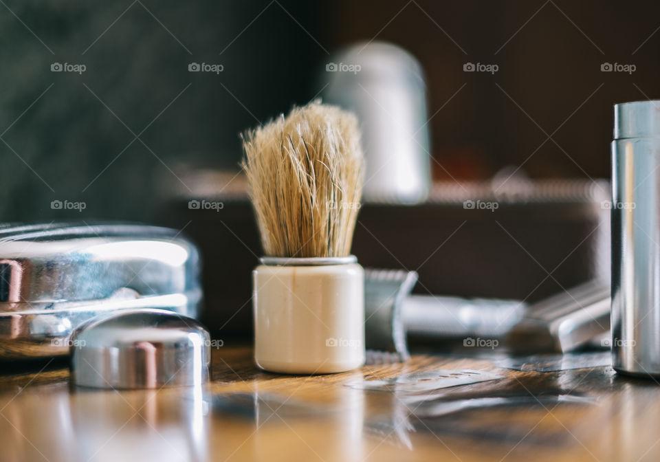 Close-up of shaving set