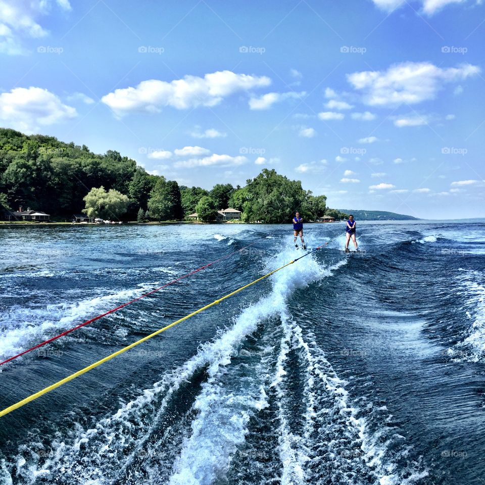 Sisters Skiing. Taken on Canandaguia Lake in Upstate New York summer 2015.