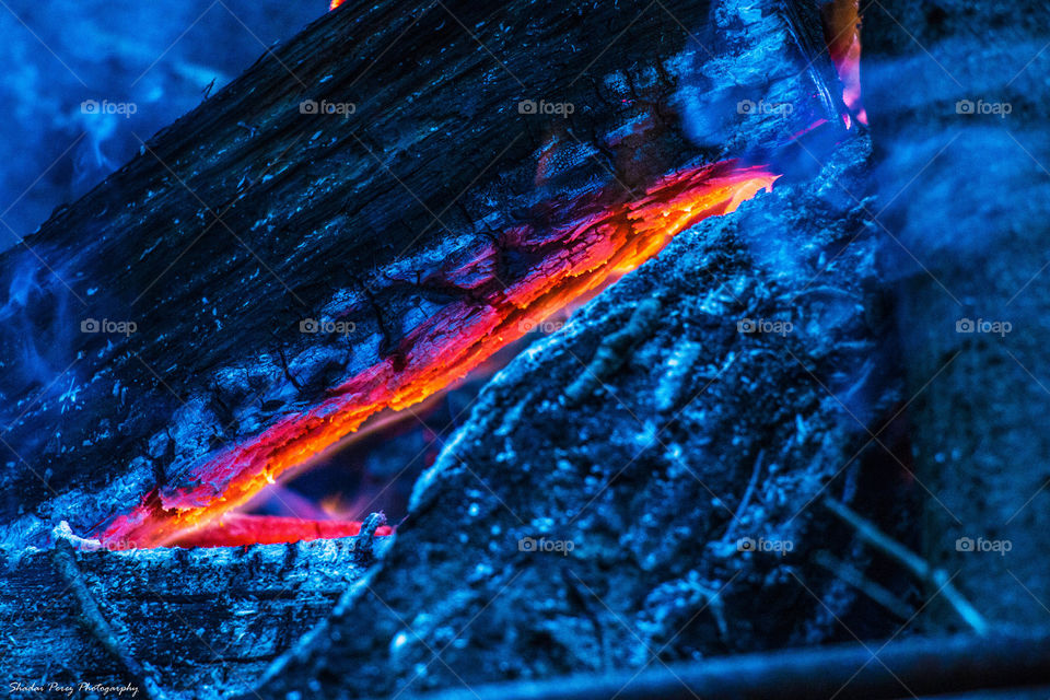 Fire within. Burning wood up close
