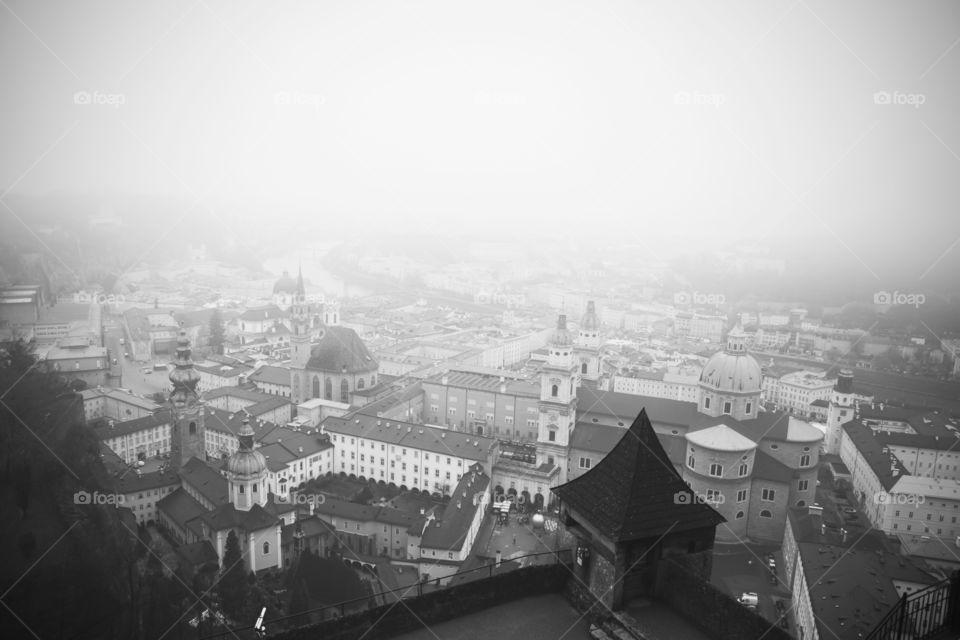 salzburg in fog. salzburg in fog, view from the fortress