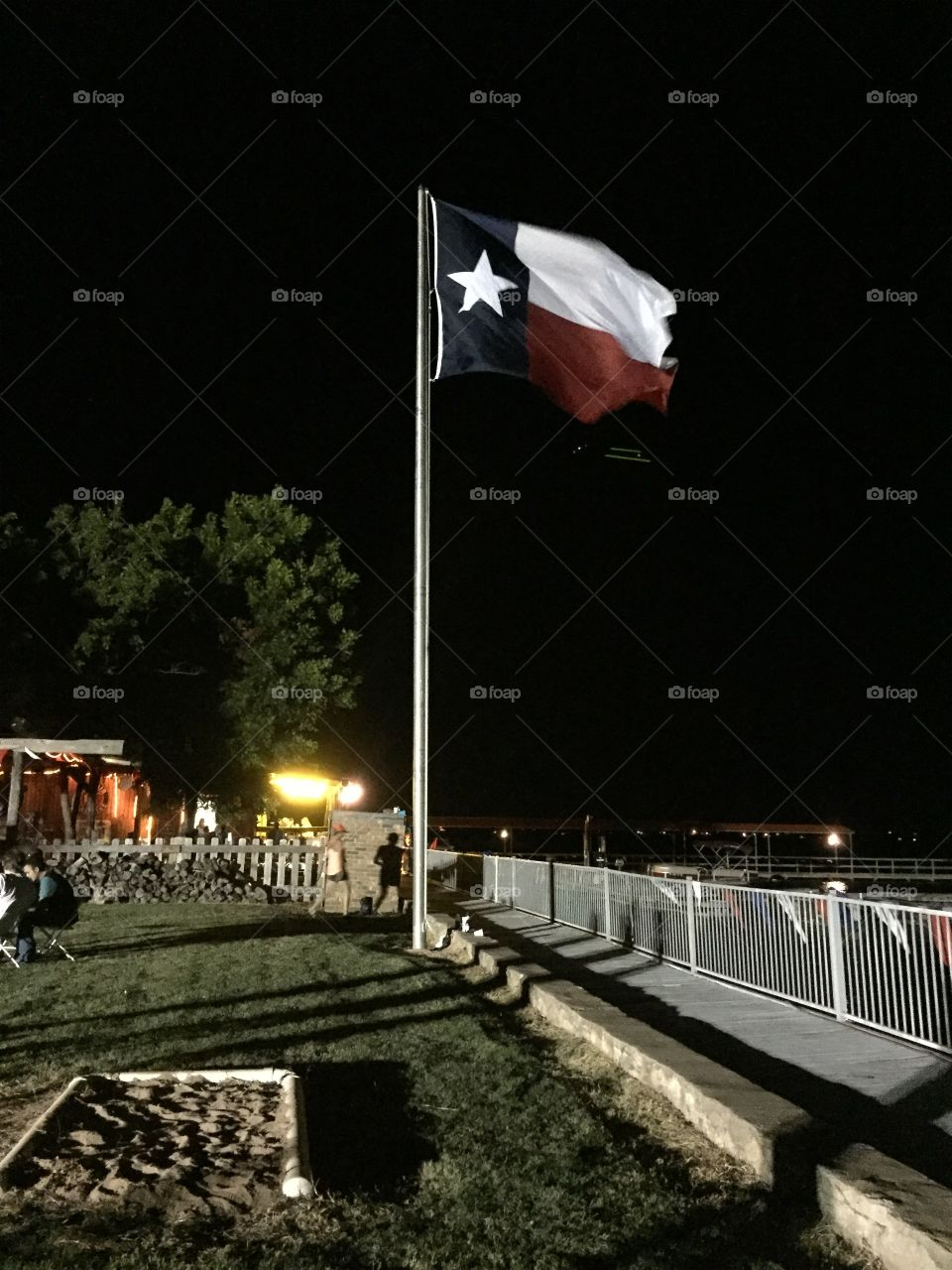 Texas flag at night