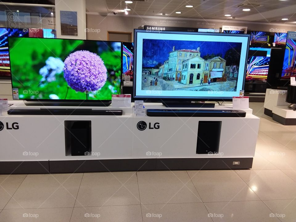 LG OLED 4K television display at Peter Jones Sloane square Chelsea King's road London