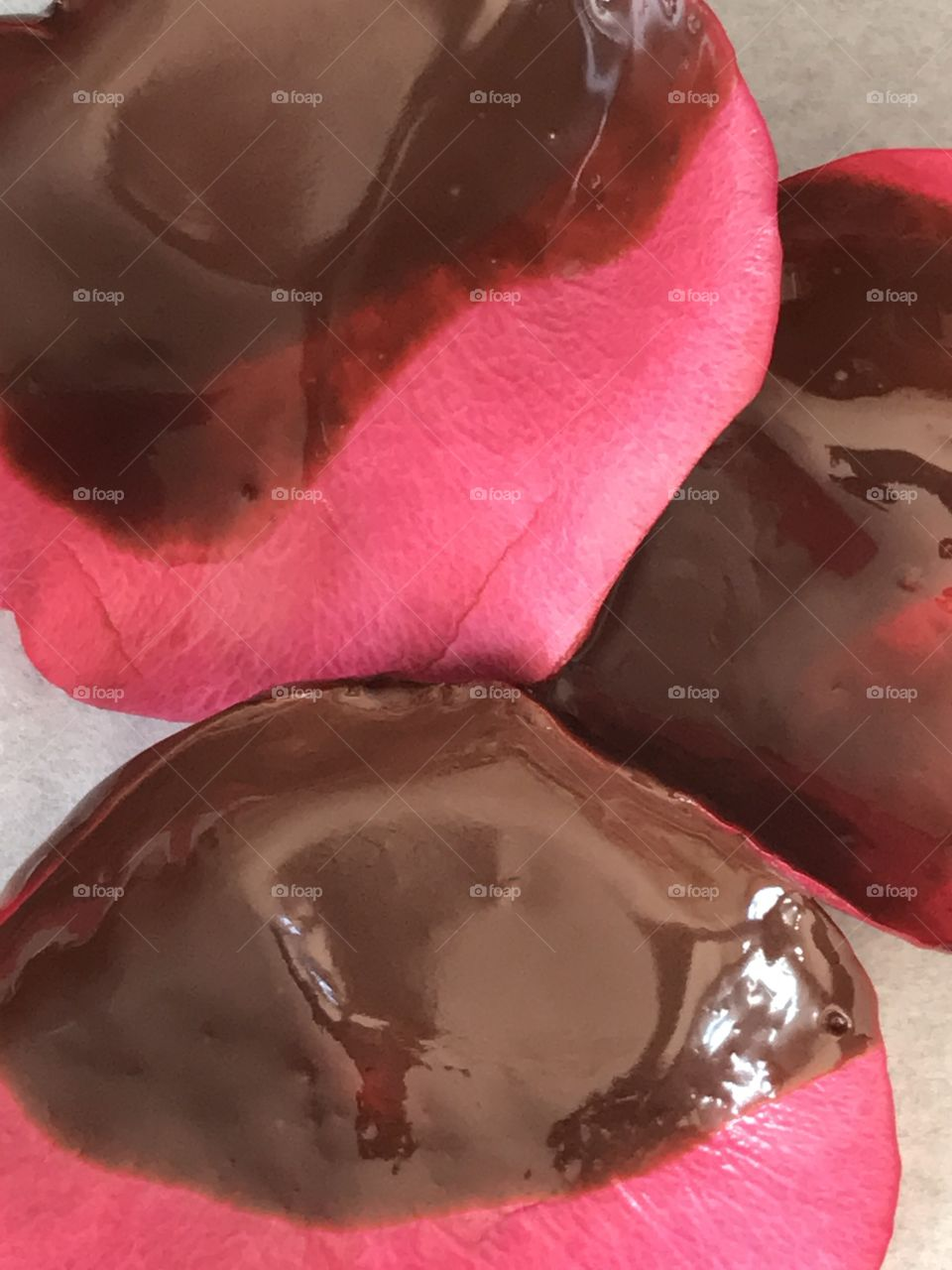 Chocolate covered rose petals