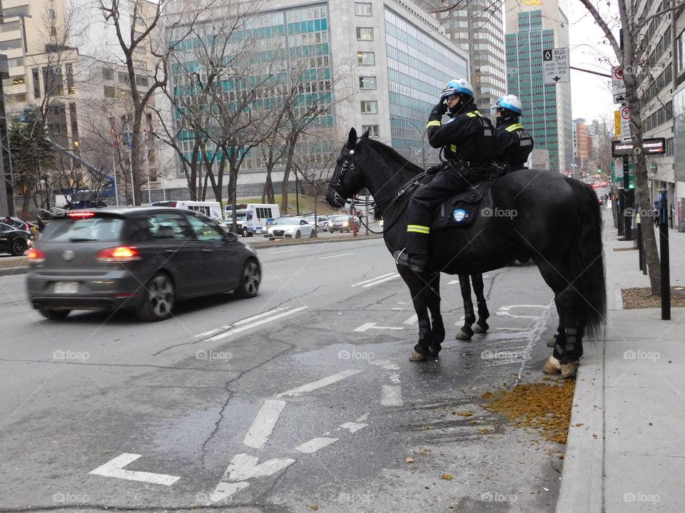 Police on horse back