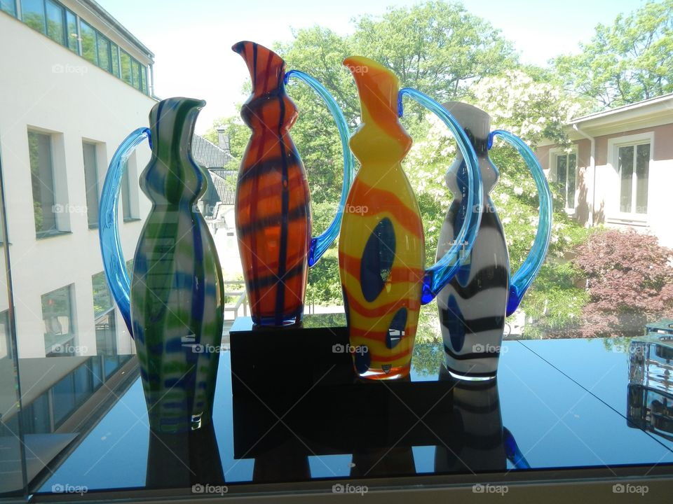 Blown glass pitchers