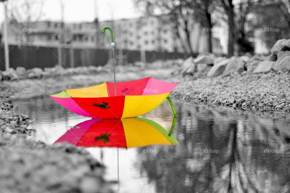 Umbrella on empty road