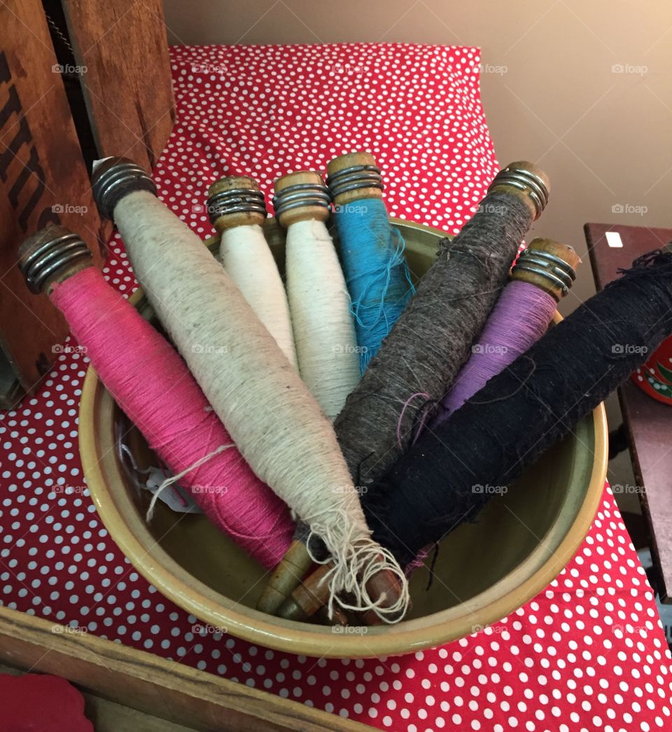 Antique thread spools & bobbin