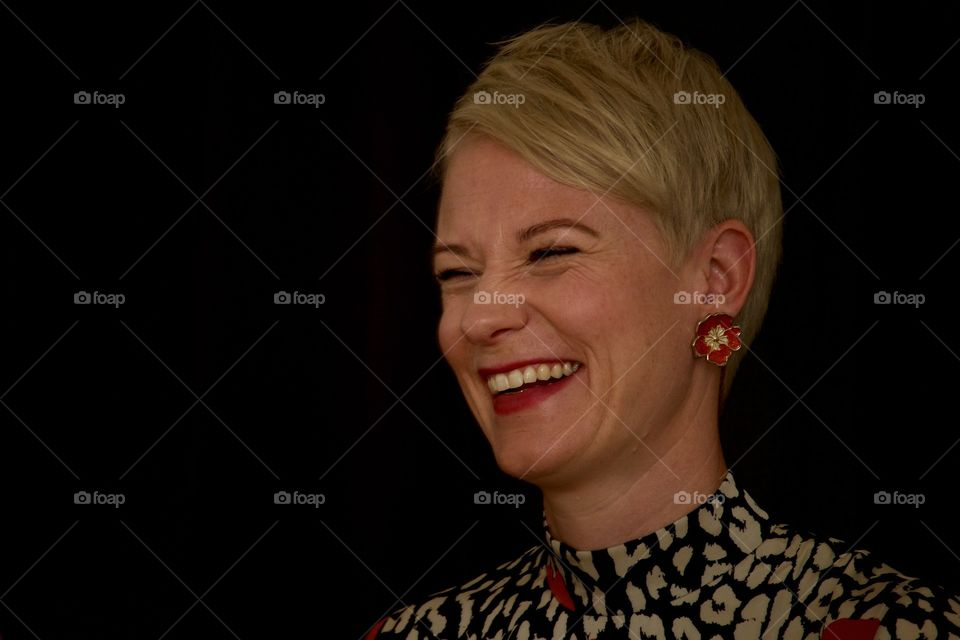 Happy Short Hair Lady On Black Background