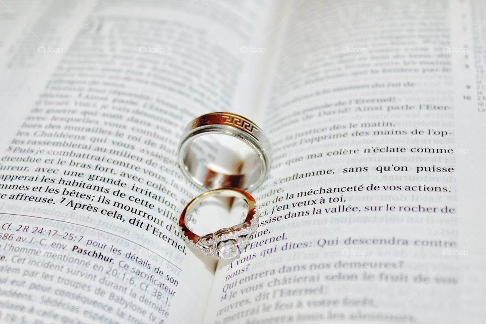 These are our gorgeous wedding rings on the holy scriptures
