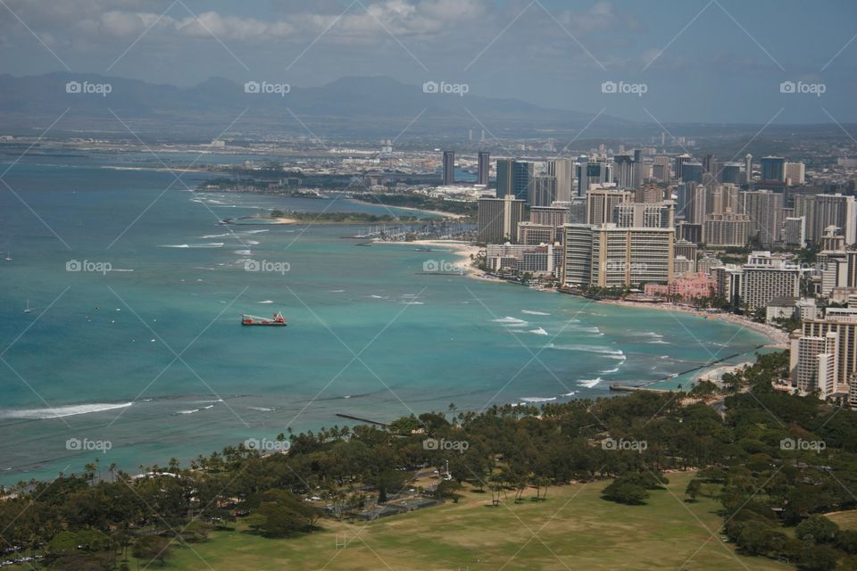 Honolulu from Diamond Head. View of Honolulu including Waikiki.